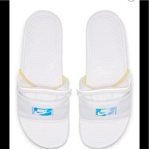 NIKE White Benassi Fanny Pack Slide Sandals sz 9